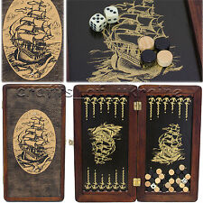 "Portable Backgammon Set SHIP Wooden Backgammon Board 12"" НАРДЫ + Set of Chips"