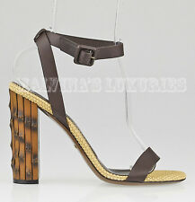 $795 GUCCI SHOES DAHLIA BAMBOO HEEL SANDALS BROWN LEATHER sz 38 / 8