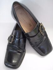 LADIES RUSSELL AND BROMLEY LEATHER BLACK BUCKLE SQUARE TOE LOAFERS SHOES SIZE 37