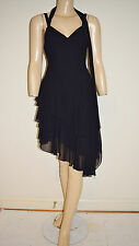 Faviana New York Black Chiffon Ruched Asymmetric Cocktail Dress - Size 3