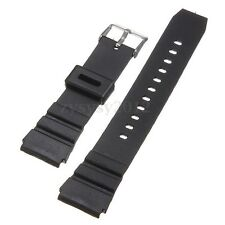 18mm Men Military Black Silicone Rubber Waterproof Sport Wrist Watch Band Strap