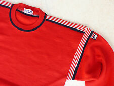 New FILA Vintage ca 1982 Iconic Red 100% Wool Sweater Jumper MADE IN ITALY