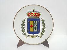 Plato decorativo de porcelana Escudo BENICARLO firma Lazaro 25cm Rivete Oro 18k