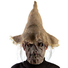 Masque en latex d'épouvantail avec chapeau et cheveux gris [1660] halloween fete