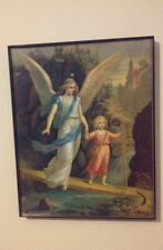 A 8x10 picture with frame of an angel walking with a  girl.