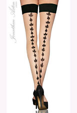 Jonathan Aston Small to Medium Size Seductive Hold Ups Stockings in Nude/Black