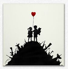 Banksy     Kids on Guns    80 x 80 cm   STAMPA SU TELA QUADRI CANVAS
