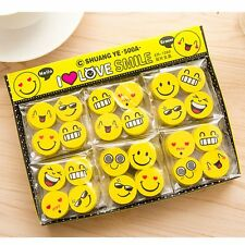 Cute Smile Face Rubber Eraser Office Drawing Supplies School Kid Great Gift 4PCS
