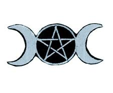 Triple Goddess Wicca Pentagram Patch Iron on Applique 3 Moon Witchcraft Gothic