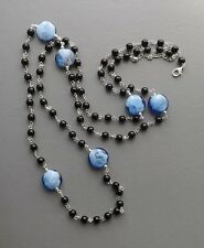 Long French Jet & blue swirl glass bead necklace . flapper bead silver tone glam