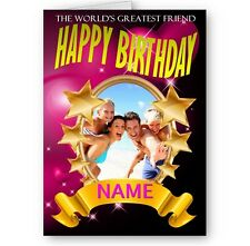 Personalised Photo, Name, World's Greatest Friend A5 Happy Birthday Card
