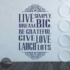 Live Simply Dream Big Be Grateful Give Love Laugh Lots Vinyl Wall Decal Sticker