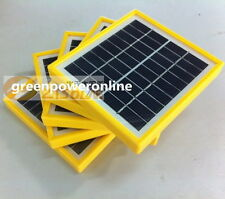 1PC 2W 9V Tempered Glass+Yellow Frame Solar Module System Cells Charger DIY