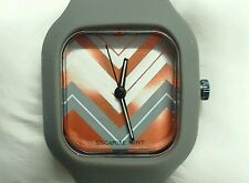 Jcpenny, Square, Gray with chevron design, Silicone Strap Womans Watch