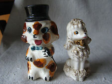 Lot of 2 Vintage Kitschy Ceramic Porcelain Dog Figurines 411518