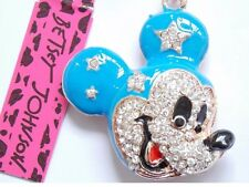 Adorable NWT Betsey Johnson Necklace Blue And Gold  Crystal  Mickey Mouse Ears