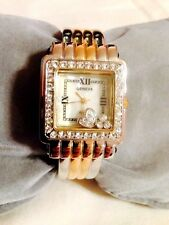 New  Geneva Two-Tone FLOATING HEART CRYSTALS Cuff Watch