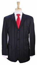 * HUGO BOSS * Recent Black Striped 3-Btn Luxury Stretch Wool Suit 38R