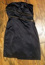 C Luce NWT Shiny Black Satin  Strapless Dress With Zippers across front Size S