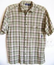 PATAGONIA Men's L Organic Crinkle Cotton Short Sleeve Shirt Tonal Green Plaid