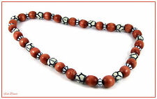 RUSTY RED WOODEN BEAD & NAVY BLUE & WHITE BEAD CHOKER / NECKLACE.