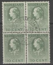 NETHERLANDS SGJ27 1951 10c GREEN FINE USED BLOCK OF 4