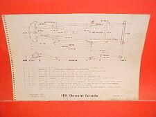 1959 CHEVROLET CORVETTE ROADSTER CONVERTIBLE HARDTOP VETTE FRAME DIMENSION CHART