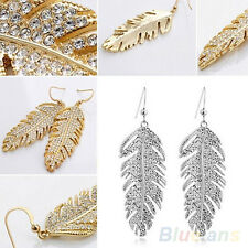 NEW - Feather Shaped Metal & Rhinestone Dangle Earrings - Silver Colour