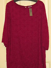 WOMENS CATHERINES TOP LACY 3X NWT BURGUNDY WINE LINED LACE SWEATER TUNIC PRETTY!