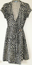 J. McLaughlin Jersey Zebra Print Cap Sleeve Gold Ring DVF-Style Wrap Dress sz M