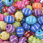 """100PCs Acrylic Spacer Beads Stripe Pattern Oval Mixed 12mmx10mm(4/8""""x3/8"""")"""