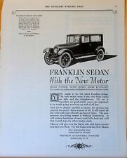 1922 magazine ad for Franklin - Sedan with the new motor, More power, speed