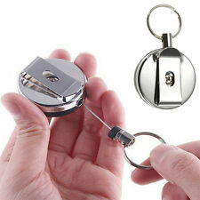 Retractable Metal Card Badge Holder Steel Recoil Key Ring Belt Clip Pull Chain