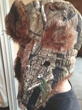 Camo Russian Trapper Trooper Ear Flap Winter Ski  Mens Women Bomber Real Trees