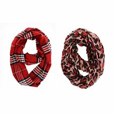 LOT OF 2X ASSORTED FASHION SCARF INFINITY COWL RED PLAID & RED LEOPARD SCARVES