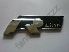 3D Metal R-line Logo Emblem Badge Decal Sticker BLACK Chrome Plated Car Audi BMW