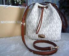 NWT Michael Kors JULES Large Drawstring Conv.Shldr Crossbody Bag Vanilla PVC$298