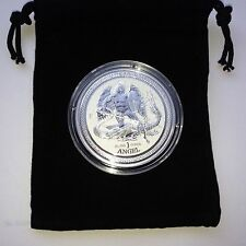 2016 Isle of Man Reverse Proof Angel 1 oz.999 Fine Silver Coin w/cap & pouch