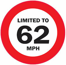 sticker vinyl decal car truck speed limit limited to 62 mph restriction van