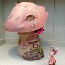 Fairy Fairies Home Toadstool Cottage Pastel Pink Miniature World Vivid Arts