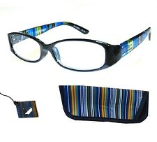 2.50 Diopt Foster Grant Rainbow Spring Hinge Reading Glasses w Soft Case & Loop