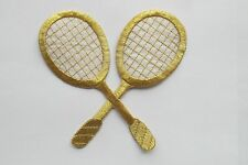#2684 Gold,White Tennis Racket Embroidery Applique Patch