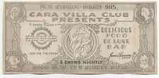 1930 Advertising Scrip for the Cara Villa Club Miami Florida