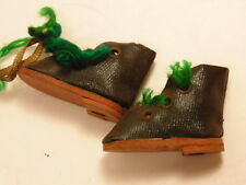 Vintage minature green shoes about 1 inch tall; with green yarn shoe strings
