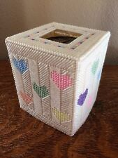 Handmade Needlepoint Plastic Canvas Tissue Box Cover - Pastel Hearts