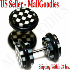 1264 Fake Cheater Illusion Faux Ear Plugs White Checkered Print Parttern 0G 8mm