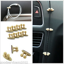 8 Pcs Mini Beige Vehicle Off-Road Charger Cable Tidy Organiser Drop Fixed Clips