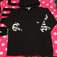 Victoria's Secret PINK L Bling Campus Hoodie Pullover New Large Black Silver VS