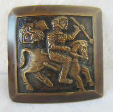 Antique BRONZE / brass  embossed belt buckle with Horse  and rider