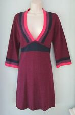 Boden Plum Color Block 100% Wool Sweater Dress Deep V Women's Medium